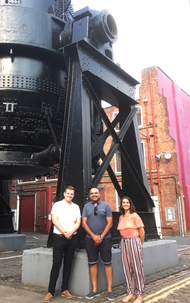 Chris Hague and Vic Bains from Roisters with Vanessa Dodd from Sheffield Industrial Museums Trust