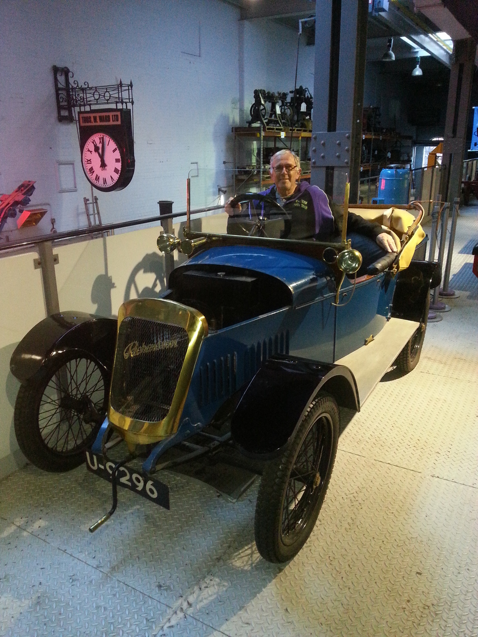 David Richardson sat in the 1921 Richardson Light Car