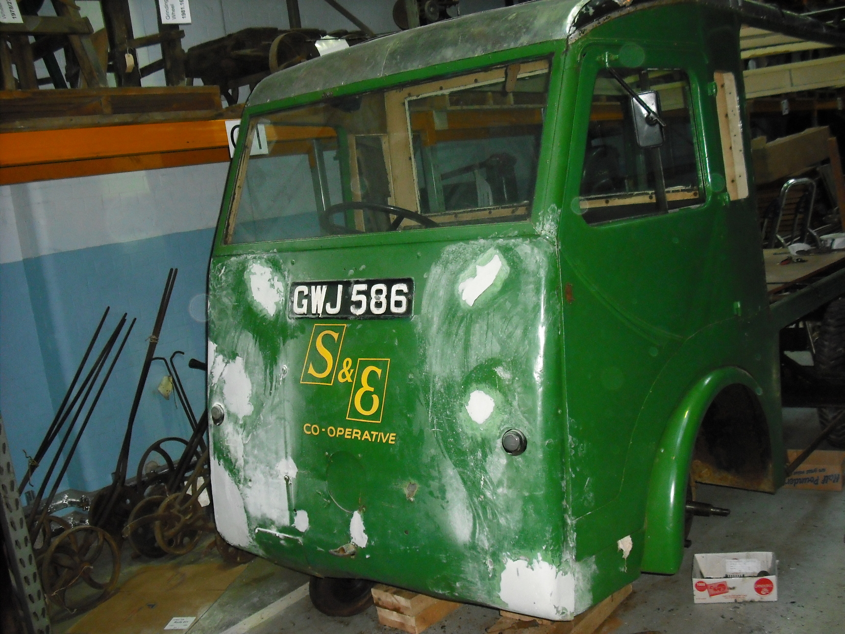 Milk float part way through restoration
