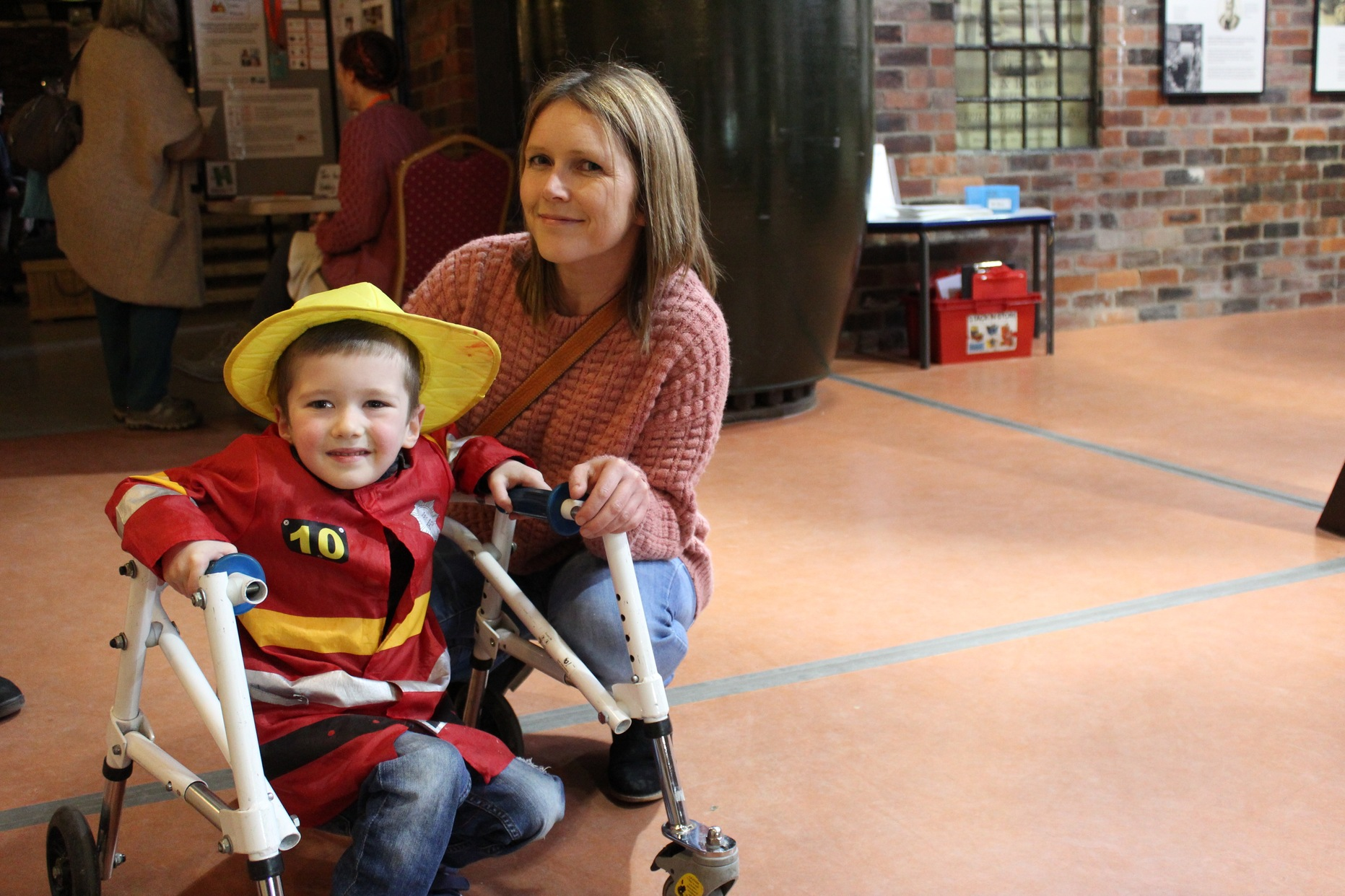 Sarah Hornby with son Luke taking part in Disabled Access Day at Kelham Island Museum 2017.